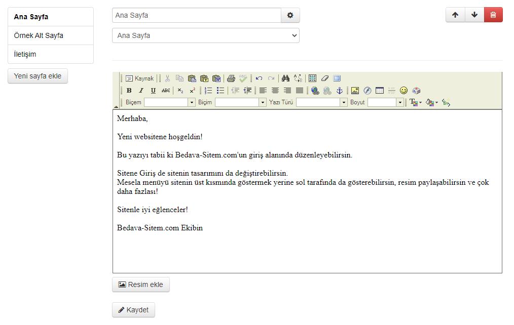 Bedava-Sitem Sayfa Düzenleme Ekranı